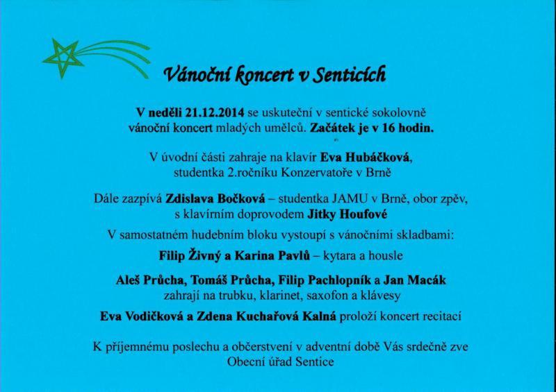 Vánoční koncert v Senticích 2014