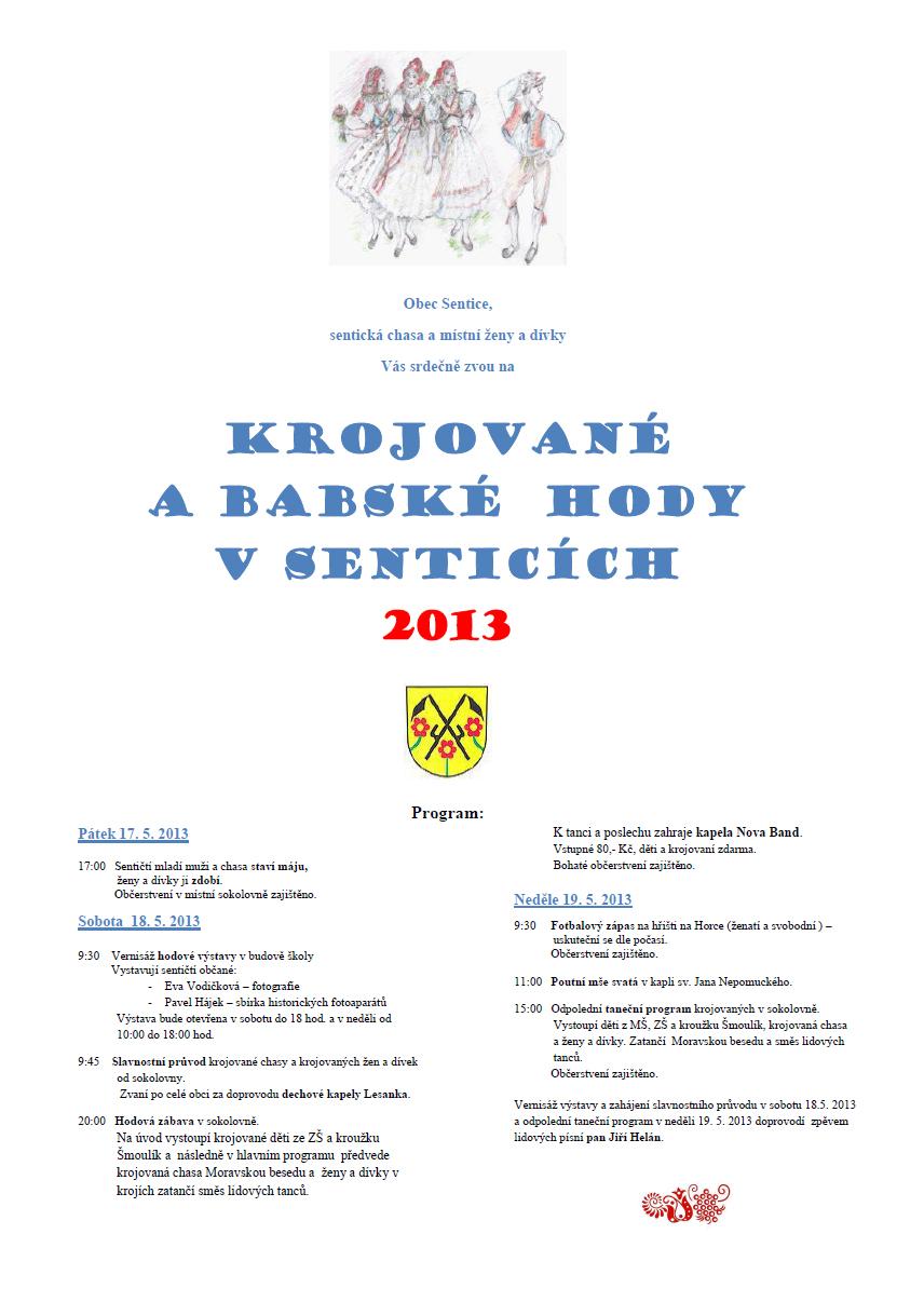 Pozvánka - hody 2013