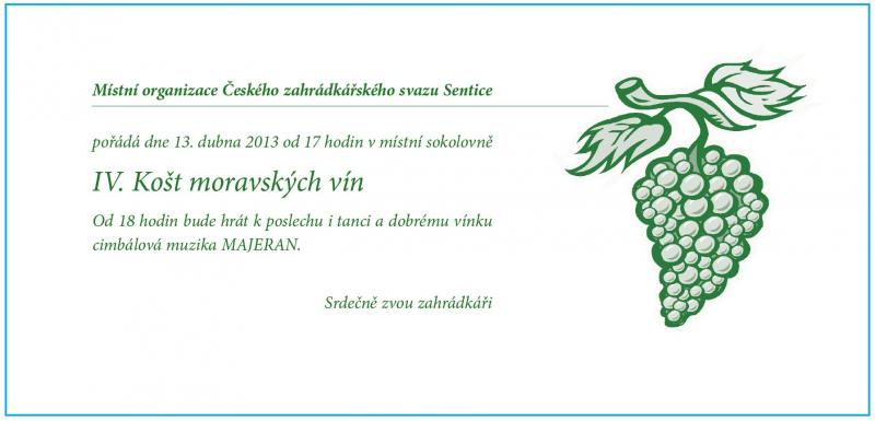 Pozvánka na IV.Košt moravských vín